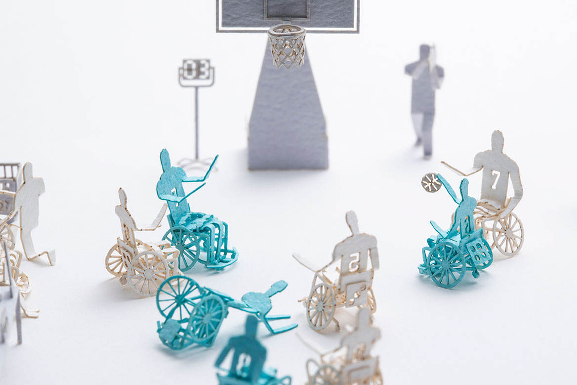 1/100 SCALE -REAL- ARCHITECTURAL MODEL ACCESSORIES SERIES No.85 Wheelchair Basketball