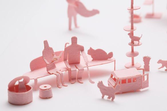 1/100建築模型用添景セット No.65 ねこカフェ編