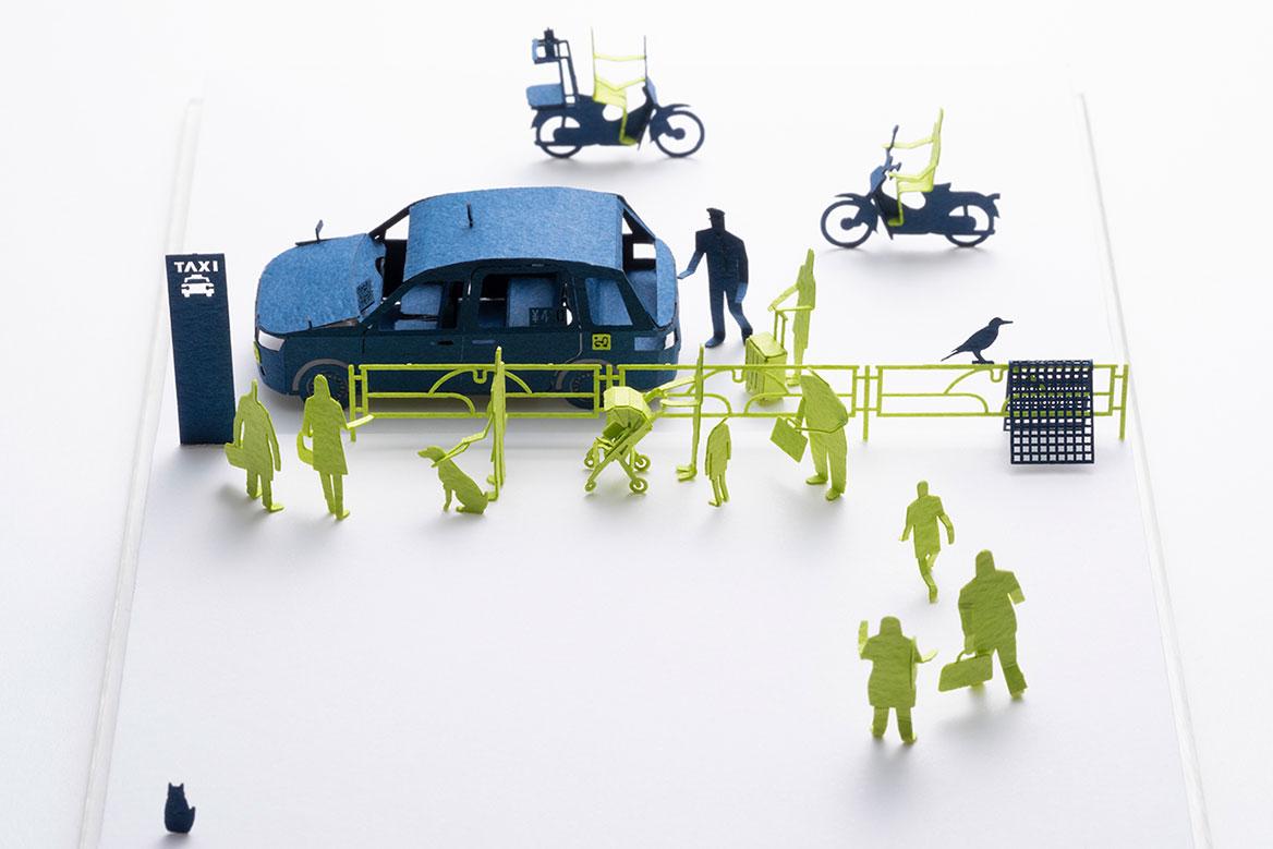 1/100建築模型用添景セット No.88 タクシー乗り場編