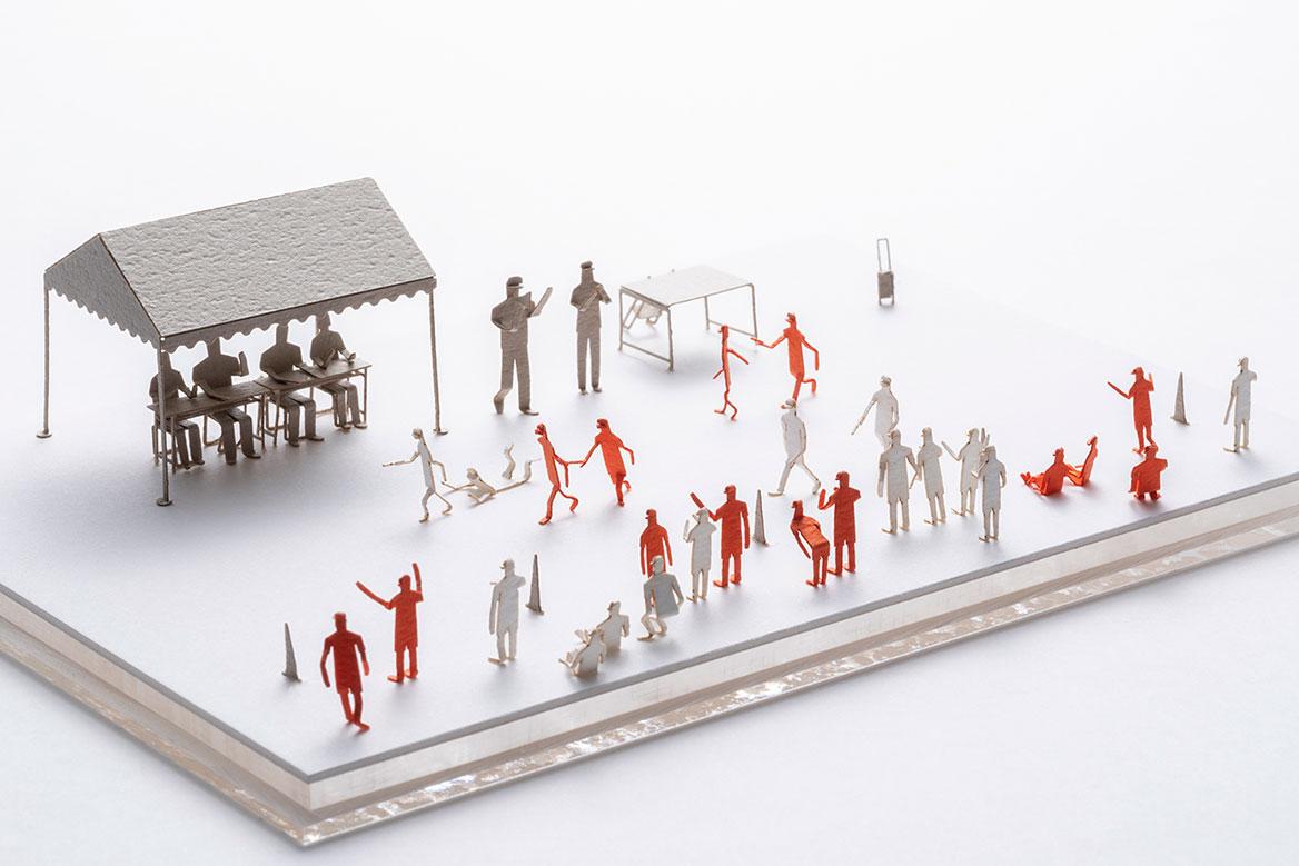 1/100建築模型用添景セット No.92 運動会編1(綱引き、玉入れ、徒競走、リレー)